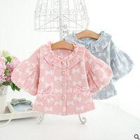 Wholesale Baby Ruffle Jacket - Newborn outwear baby little girls cute full bows printed princess tops 2017 autumn new Infant lantern sleeve ruffle collar coat T5009