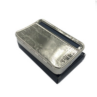 Wholesale Paper Hand Cigarette Rolling - free shipping USA 110MM Silver Automatic Metal Rolling Machine Case Box for 110mm KING SIZE papers Cigarette Maker hand Roller Handroller