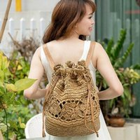 2017 Summer Crochet Straw Bag Mochila Vines Beach Knitting Bag Mujeres Mochilas Sackpack Travel Back pack Hollow Out