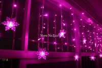 Wholesale Led Snowflake Lights Solar - 3.5M 100SMD 16P Snowflake LED Curtain String Lights Lamp New Year Garden Christmas Wedding Party Ceiling Decoration 110V 220V