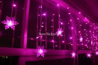 Wholesale Led Flashing Snowflake - 3.5M 100SMD 16P Snowflake LED Curtain String Lights Lamp New Year Garden Christmas Wedding Party Ceiling Decoration 110V 220V