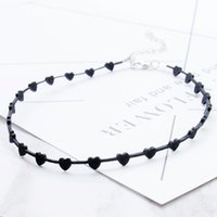 Wholesale Vintage Clothes Accessories - Love Heart Design Black Choker Women Clothing Accessories Short Punk Vintage Chain Necklace High Quality Fine Jewelry Necklace