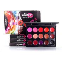 Wholesale 15 color lipstick palette - Popfeel Lipstick 15 Colors Mini Lip Gloss Makeup Palette Nude Color Red Purple Pink Moisturizer Long Lasting Lipgloss Lip Cosmetics 1203012