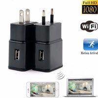 Wholesale Covert Video Surveillance Camera - Mini Wireless WIFI P2P Network HD 1080p USB AC Plug Adapter Covert Spycam Mini DVR Hidden Camera Surveillance Video Recorder