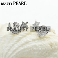 Bulk of 3 Pairs Earring Settings 925 Sterling Silver Cubic Zirconia Star e Moon Earrings Blank Montagens