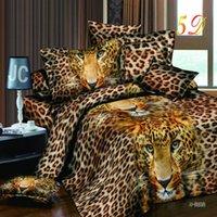 Wholesale Leopard Print Cotton Duvet Cover - Wholesale-Home Textiles 3D Bedding Sets Cotton Leopard Grain Rose Panther Queen 4 Pcs Duvet Cover Bed Sheet Pillowcase Bedclothes