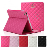 couronne en cuir pu achat en gros de-Luxe strass Couronne PU Tablette en cuir Étui pliant pour iPad 2 3 4 5 6 IPAD mini 4 avec support antichoc Dormancy Cover
