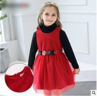 Wholesale Girls Pure Cotton Flowered Dresses - Children Christmas Dress Girls Pure Color Stereo Flowers Sashes Vest Dress Autumn New Kids Splicing Pleated Tulle Dress Girls Clothes C1360