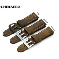 Wholesale 24mm Italian Leather Watch Strap - CHIMAERA 24mm Handmade Italian Vintage Genuine Leather Watch Band Strap Pre-v Buckle Option Watchband Strap for Panerai PAM