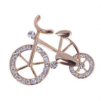 Wholesale Bicycle Beautiful - Wholesale- Hot New Beautiful Fashionable Trendy Unisex Fancy New Elegance Gold Rhinestone Crystal bike bicycle Brooch pin for jewelry gift