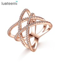 Wholesale Gold Jewelery Sets - Elegant Retro Double Cross X-Ring for Female Zirconia Rose White Gold Color Jewelery Christmas Gifts New Arrival LUOTEEMI