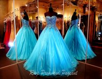 Wholesale Modern Colored Crystals Gown - Turquoise Ball Gown Prom Dresses 2017 Sweetheart Strapless Multi Colored Stones Beaded Tulle Quinceanera Dresses Formal Masquerade Gowns