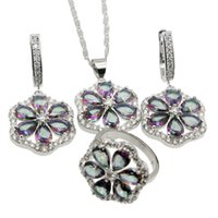 Wholesale Beautiful Girl Mix - 925 Sterling Silver Women Jewelry Sets Beautiful Flower Rainbow Mystic Fire Topaz Necklace Earrings Ring Size 7 Nice Quality Free Shipping