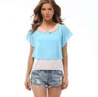 Wholesale Doll Hit - Women's New Summer Europe And The United States Loose Hit The Color Dolls Chiffon Fly Flying Sleeves Small Chiffon T-Shirt