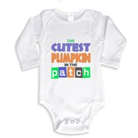 Wholesale Cutest Baby Boy Girl - The Cutest Pumpkin in the Patch Funny baby onesie baby white outfit boy girl gift clothes newborn baby New Dad Mom
