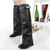 Wholesale Thigh High Wedges Boots - New stylish Winter knee high boots Women wedge heel shark lock Strap fold point toe ladies knight Layer boots