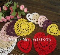 Wholesale Padded Appliques Hearts - Wholesale- Free shipping Heart Design cotton hand made Crochet Doily,cup mat, cup pad,coaste ,crochet applique 9CMX8CM 20 PCS LOT CD041-S