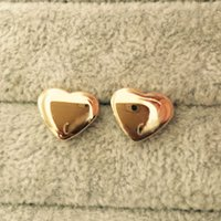 Wholesale Girl Earrings - Top brand luxury 3D heart 18K Gold plated 316L titanium steel Stud Earrings For Women men girls boys