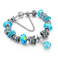 Wholesale Holiday Tennis - European Style Authentic Tibetan Silver Blue Crystal Charm Bracelet for Women Original DIY Beads Jewelry Thanksgiving Gift