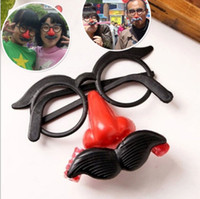Wholesale Funny Clown Costumes - Wholesale- Humor Toy Funny Clown Glasses Costume Ball Round Frame Red Nose Whistle Mustache False Nose Hair blow out dragon joke toys