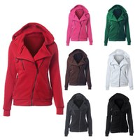Wholesale Solid Color Hooded Cardigans - Hot Fashion Female Solid Color Fleece Zipper Hoodie Womens Zipper Coat Girls fashion warm hooded Jacket multicolors 5sizes