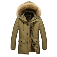 Wholesale Denim Jacket Men Thick Fur - Wholesale- 2016 new arrival men's thick warm winter down coat fur collar men parka big yards long cotton coat jacket parka men M-5XL