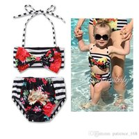 Wholesale Bikinis Small - INS 3 style 2017 new arrivals hot selling girl kids bikini summer girl Striped flowers swimsuit Small fresh sling two pieces swimsuit