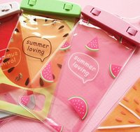 Wholesale Cartoon Girls Phone Case - Lovely Cute Fruit Waterproof Bag Case Pouch Cover Children Girls Cell Phone Universal Water proof Swimming Cases for iphone Plus Samsung
