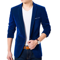 blazer bleu de qualité achat en gros de-Vente en gros- High quality Royal Blue Velvet Blazer Men 2017 Nouvelle Automne Mode Coréenne Hommes Slim Single Button Blazer Jacket Wedding Blazer
