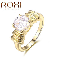 Wholesale Sparkling Rhinestone Ring - ROXI 2017 Exquisite Wedding Engagement Rings Gold Color Classic Sparkling Cubic Zirconia Forever Ring For Women Fashion Jewelry