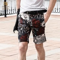 Wholesale Tube Knee Length - Wholesale- Fanzhuan free shipping New fashion men's male man casual 2017 Rose Printed micro tube straight slim shorts trousers 718060