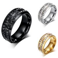 Wholesale Wholesale Titanium Black Diamond Rings - Luxury Full Diamond Wedding Ring Shinning Crystal Titanium Stainless Steel Rings for Men Women Wedding Party Jewelry Gold Silver Black