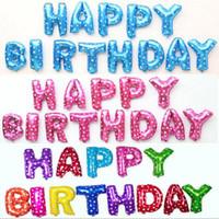 letras de festa de aniversário de balão venda por atacado-Balões atacado para Kids Birthday Party 16 polegadas Letters balão azul Rosa Ouro Prata Letters Balões Decoração do partido