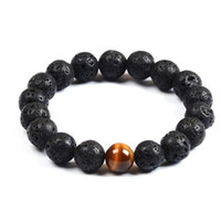 Wholesale Eye Rocks - Wholesale Natural Lava Rock stone Popular sale lava beads bracelet Lavastone Bracelet with Tiger eye beads 8mm ball bracelet