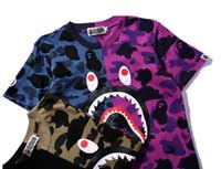 Wholesale Dolman Sleeve Shirts - Men Women T Shirt Summer 100% Cotton Hip-Hop shark Skateboard VloneT-shirts Palace Tee Short Sleeve MA1 T-Shirt Tops