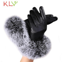 Wholesale Soft Leather Driving Gloves - Wholesale- Stylish 2017 Wome nBlack Winter Outdoor Leather Soft Mitten Gloves Super Warm Girl Luxurious Driving Rabbit Fur Glove for lady