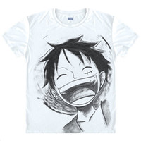 uma peça anime roupas venda por atacado-Atacado-One Piece T shirt 2016 Moda Anime japonês Roupas cor branca Luffy Cotton T-shirt para homem e mulher