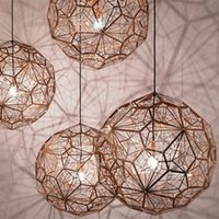 Wholesale master bedroom decor - Etch LED Light Web Copper   Silver Chandeliers Tom Dixon Pendant Lamp Lights Creative Diamond Droplight Light Lighting Home Bar Decor Lights