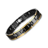 Healing Energy Magnetic Hematite Bracelet Bangle Gold Color Aço inoxidável Hand Chain Link Black Ceramic Bracelet Men Gift B874S