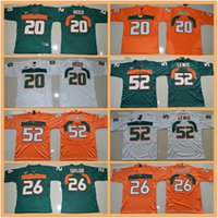 reed kid achat en gros de-Jeunesse Ed Reed # 20 Sean Taylor # 26 Ray Lewis # 52 Vert Orange Blanc ncaa maillots de football du Collège des Hurricanes de Miami enfants garçons
