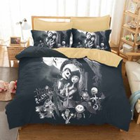 Wholesale Duvet 3d - Home Textile 3D Nightmare Before Christmas Bedding Set Sanding Bedding Duvet Cover Set 3pc Include Bed Spread Pillowcase For Adult