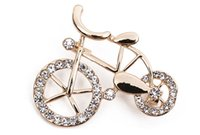 Wholesale China Wholesale Bikes - Cute Ladies Girl RetroJewelry Clear Crystal Gold-Tone Lovely Bike Bicycle Art Deco Pin Novelty Brooches
