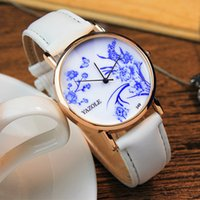 Barato Retro Watch China-Retro Blue And White China Watch Flower Pattern Braceletes Relógios de pulso Relógios de couro de couro Relógio Marca de luxo