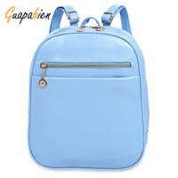 Wholesale Portable Design Simple - Wholesale- Guapabien 2017 Simple Design Girl School Backpack Ladder Lock Button Shape Zipper Head Solid Color Portable Backpack Women Bag