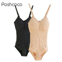 Großhandel Poshcoco MS Bequeme Fitness Trikotanzug Bodysuit Verstellbare Armband Baumwolle Onesies Sexy Lift BH Shaper Slim Shapers Tops Overall