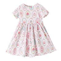 Wholesale Teenage Spring Dresses Wholesale - Cute Baby Girls Clothing Summer Short Sleeve Teenage Girls Dress Ice Cream Printed Sweet Girls Dresses 10Y Big Dress Outfit