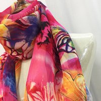 Wholesale Chiffon Scarf Fabric - Natural Silk Fabric 100% Silk Classic Fashion Chiffon Scarf Casual Long Shawl Embroidery Beach Scarf Free Shipping