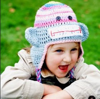 Wholesale Sock Monkey Beanie Hats - Sock Monkey Striped Crochet Knitted Hat Newborn Infant Toddler Baby Girl Boy Xmas Cap Winter Kids Children Animal Beanie Earflap 100% Cotton