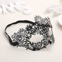Wholesale Lady Metal Mask - Masquerade Halloween Exquisite Lace Half Face Mask For Lady Black White Option Fashion Sexy