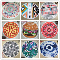 Wholesale Houndstooth Swimsuit - 40 Designs 150cm Round Donut Pizza Hamburger Towel Beach Cover Ups Sexy Beach Towels Geometric Pattern Swimsuit Cover Up Yoga Mat Scarf